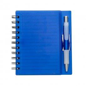 Bloco de anotações acrílico colorido com wire-o e caneta plástica