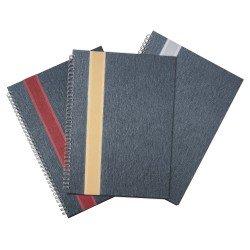 Caderno grande com faixa lateral frontal