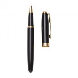 Caneta Personalizada de metal tinteiro preta com detalhes dourado