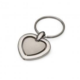 Chaveiro metal giratório formato coração,