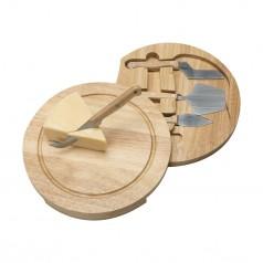 Kit queijo 5 peças com tábua de madeira