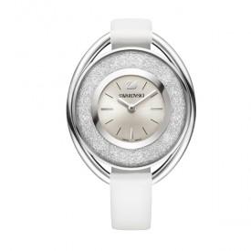 Relógio em aço inoxidável e couro decorado com 1.700 cristais Swarovsk