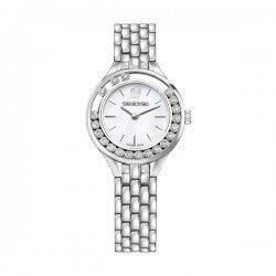Relógio  com visor em madrepérola e cristais Swarovski.